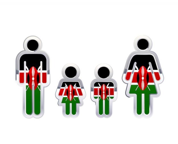 Glänzendes metallabzeichenikone in mann-, frauen- und kinderformen mit kenia-flagge, infografikelement auf weiß Premium Vektoren