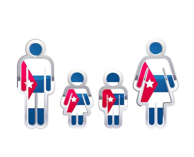 Glänzendes metallabzeichenikone in mann-, frauen- und kinderformen mit kuba-flagge, infografikelement auf weiß Premium Vektoren
