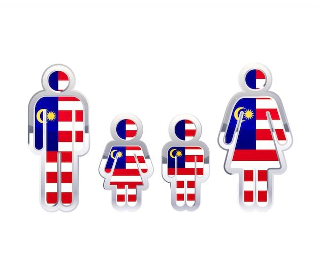 Glänzendes metallabzeichenikone in mann-, frauen- und kinderformen mit malaysia-flagge, infografikelement auf weiß Premium Vektoren