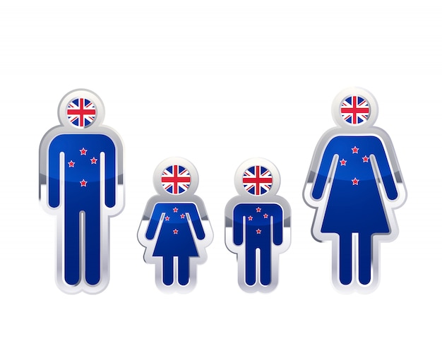 Glänzendes metallabzeichenikone in mann-, frauen- und kinderformen mit neuseeländischer flagge, infografikelement auf weiß Premium Vektoren