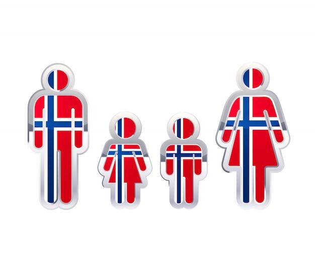 Glänzendes metallabzeichenikone in mann-, frauen- und kinderformen mit norwegenflagge, infografikelement auf weiß Premium Vektoren