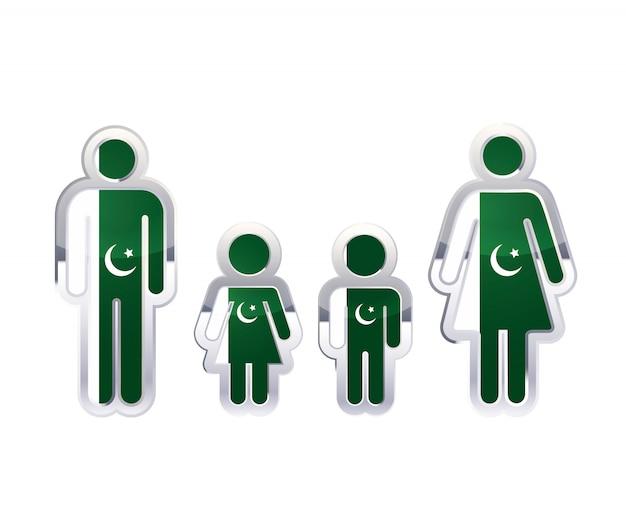 Glänzendes metallabzeichenikone in mann-, frauen- und kinderformen mit pakistan-flagge, infografikelement auf weiß Premium Vektoren