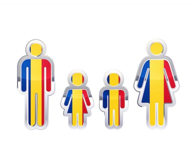 Glänzendes metallabzeichenikone in mann-, frauen- und kinderformen mit rumänienflagge, infografikelement auf weiß Premium Vektoren