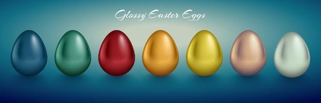 Glänzendes metallisches eierset. goldene, silberne, blaue, rote, grüne, orange, gelbe, weiße farbe. türkis tiefer retro-hintergrund. Premium Vektoren