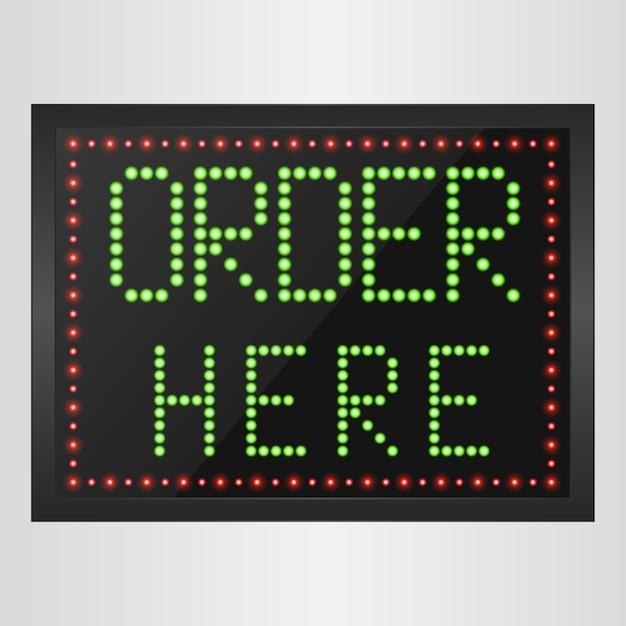 Glänzendes retro-led-licht banner bestellen sie hier zeichen Premium Vektoren