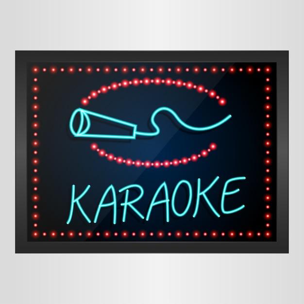 Glänzendes retro- led und neonlichtfahne karaoke lokalisiert Premium Vektoren