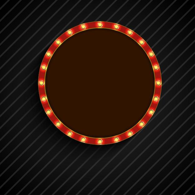 Glänzendes retro- licht der konzeptkreisfahne Premium Vektoren