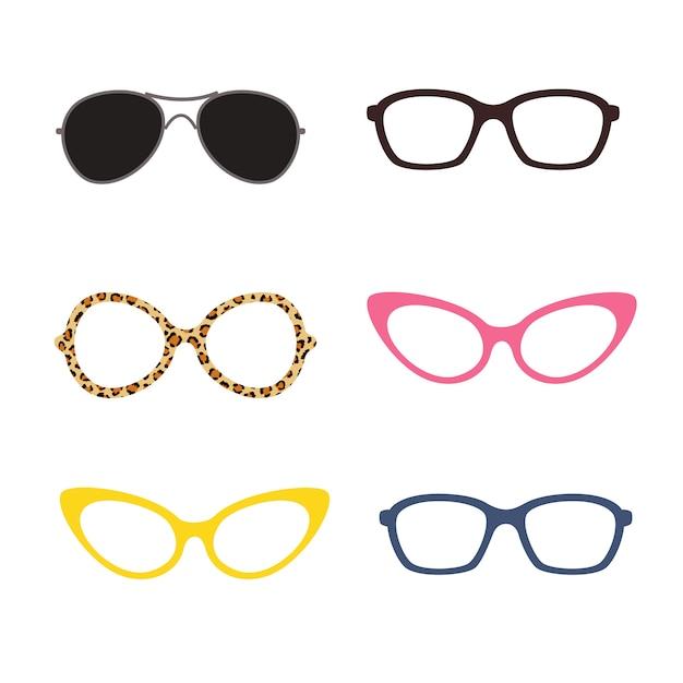 Gläser in verschiedenen farben und formen Premium Vektoren