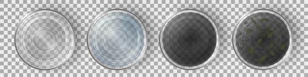 Gläser mit draufsichtsatz des sauberen und schmutzwassers. Kostenlosen Vektoren