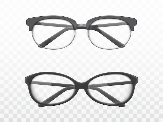Gläser mit realistischen vektoren der schwarzen felder Kostenlosen Vektoren