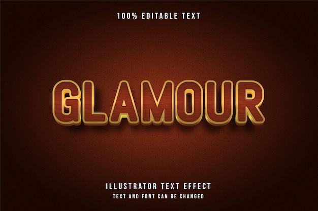 Glamour, 3d editierbarer texteffekt, gelb-orange-gold-stil Premium Vektoren