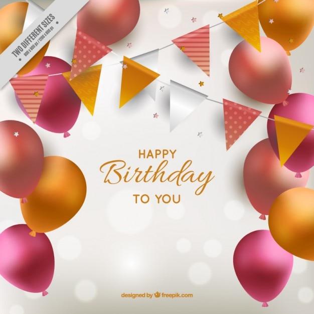 Glänzend Geburtstag Hintergrund mit Luftballons | Download der kostenlosen Vektor