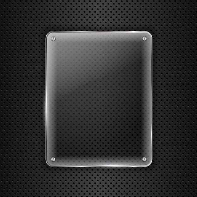 Glas auf metallhintergrund Kostenlosen Vektoren