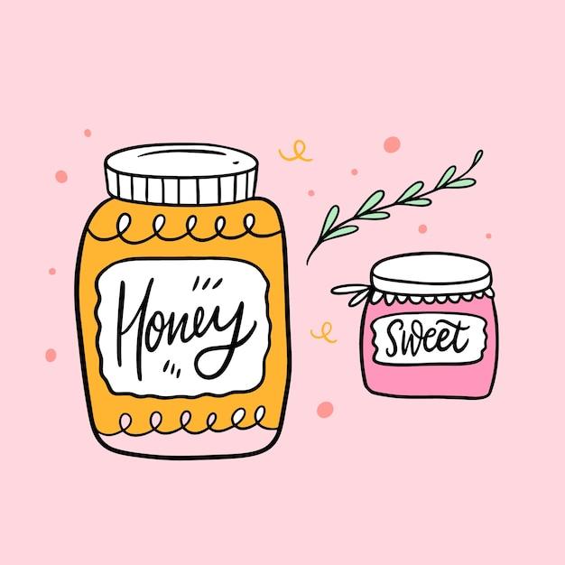 Glas honig und süßes glas. hand gezeichnete skizze. pinselkalligraphie. Premium Vektoren