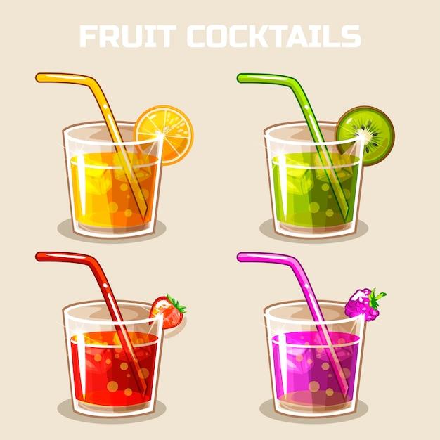 Glas kalte fruchtcocktails mit eis Premium Vektoren