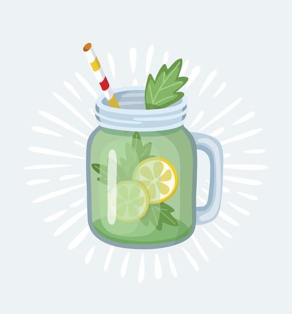Glas mit apfelsmoothie mit gestreiftem stroh. glas für cocktails mit griff. apfelfrisches obst. illustration mit stil Premium Vektoren