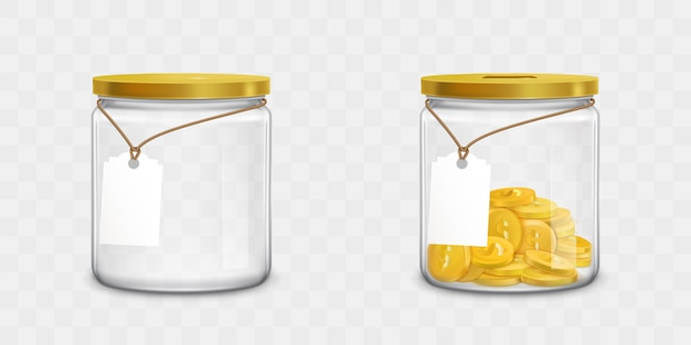 Glas mit tags und geld gesetzt Kostenlosen Vektoren