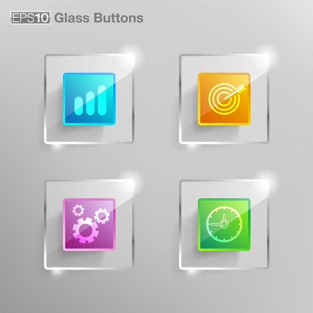 Glas-quadrat-taste Premium Vektoren