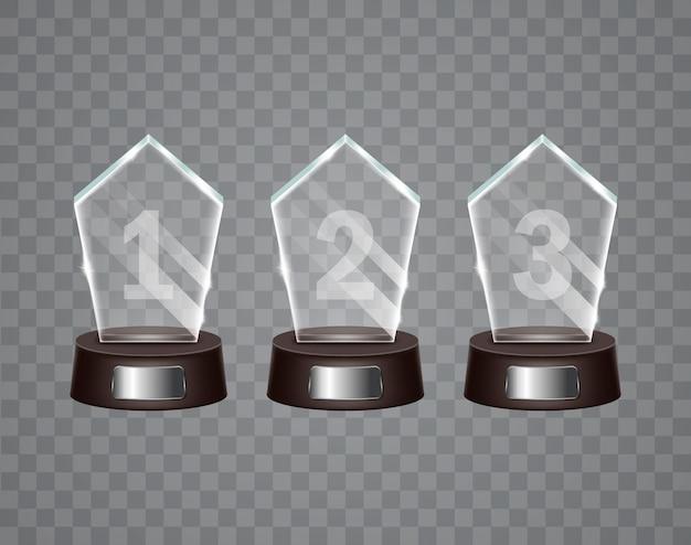 Glas-trophäenpreis. Premium Vektoren