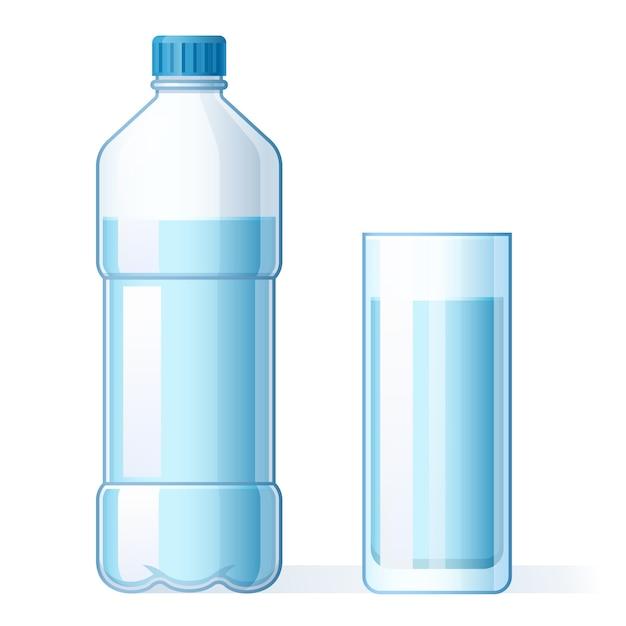 Glas wasser und plastikflasche. hydratation, flaschen für reine flüssigkeit und mineralwasser trinken cartoon-vektorillustration in flaschen Premium Vektoren