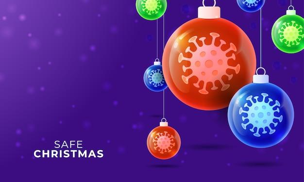 Glas weihnachts coronavirus ball. weihnachtsereignisse und feiertage während einer pandemie. Premium Vektoren