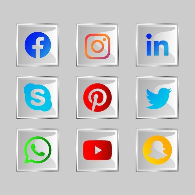 Glaseffekt glänzend social media icon button Premium Vektoren