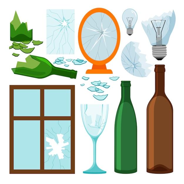 Glasmüllsammlung, leere flaschen, brokem spiegel und fenster, glühlampeikonen Premium Vektoren