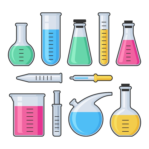 Glasröhrchen und flaschensatz des chemiewissenschaftslabors Premium Vektoren