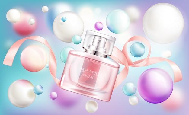 Glassprüherflasche mit rosa flüssigkeit und seidenband auf regenbogen Kostenlosen Vektoren