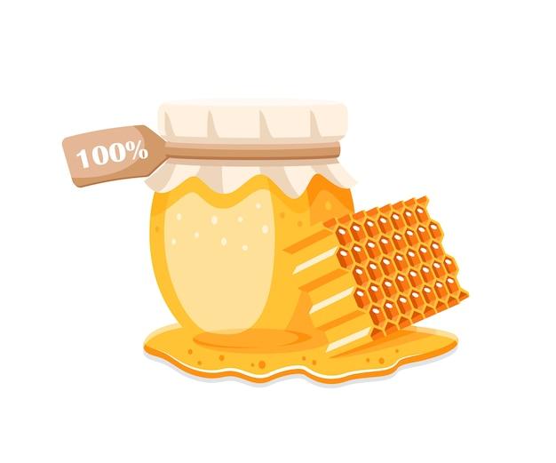 Glastopf mit honig, wabe mit tropfen honig auf weißem hintergrund. element für honigkonzept. illustration Premium Vektoren