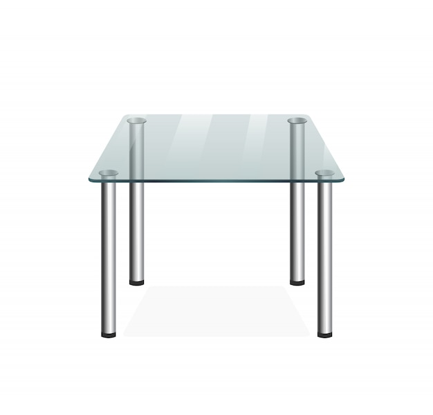 Glastransparenter tisch Premium Vektoren