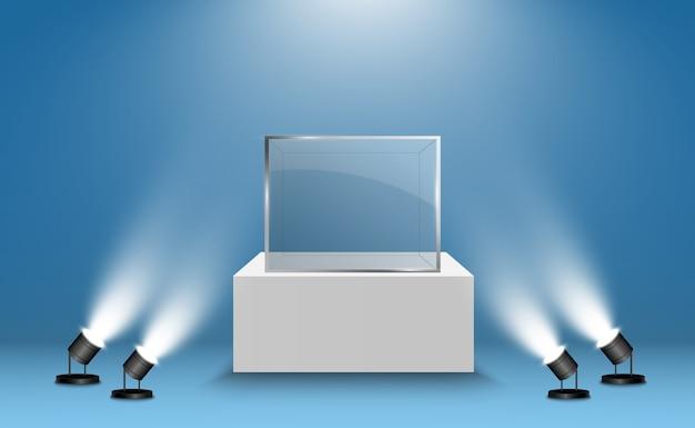 Glasvitrine für die ausstellung in form eines würfels. hintergrund zum verkauf von scheinwerfern beleuchtet. museum glasbox isoliert werbung oder business design boutique. ausstellungshalle. Premium Vektoren