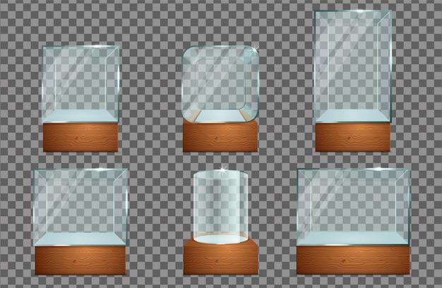Glasvitrinen-icon-set. Premium Vektoren
