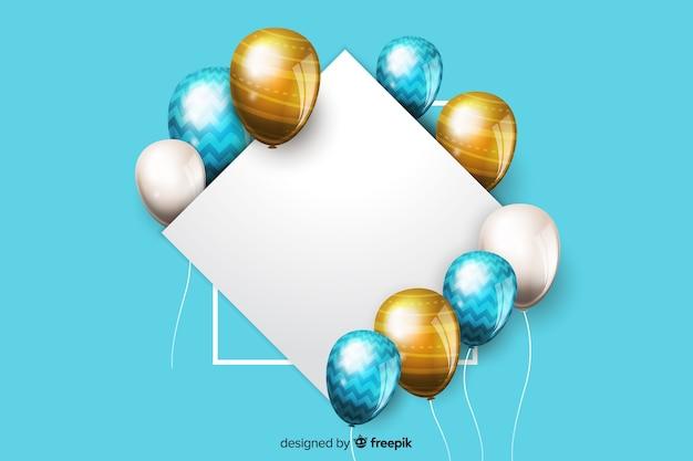 Glatte ballone mit leerer fahne im effekt 3d Kostenlosen Vektoren