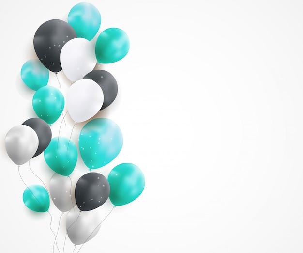 Glatter alles gute zum geburtstag steigt hintergrund im ballon auf Premium Vektoren