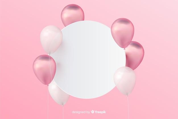 Glatter dreidimensionaler ballonhintergrund mit leerer fahne Kostenlosen Vektoren