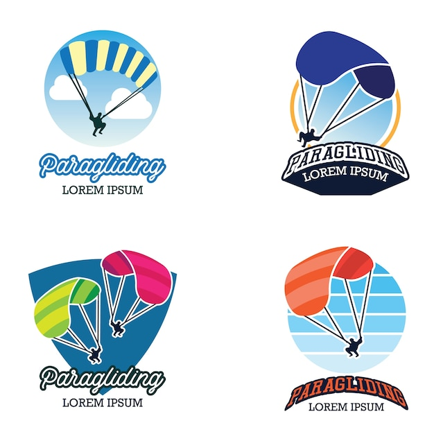 Gleitschirm-logo Premium Vektoren