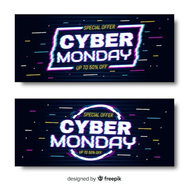 Glitch cyber montag banner Kostenlosen Vektoren