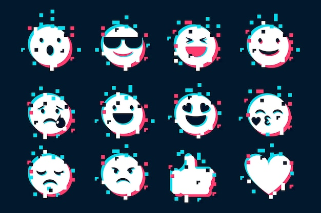 Glitch emojis icons sammlung Kostenlosen Vektoren
