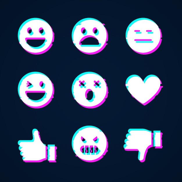 Glitch emojis sammlungen Kostenlosen Vektoren