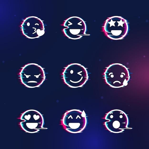 Glitch emojis sammlungen Premium Vektoren