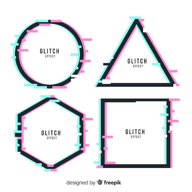 Glitch geometrische form banner Kostenlosen Vektoren