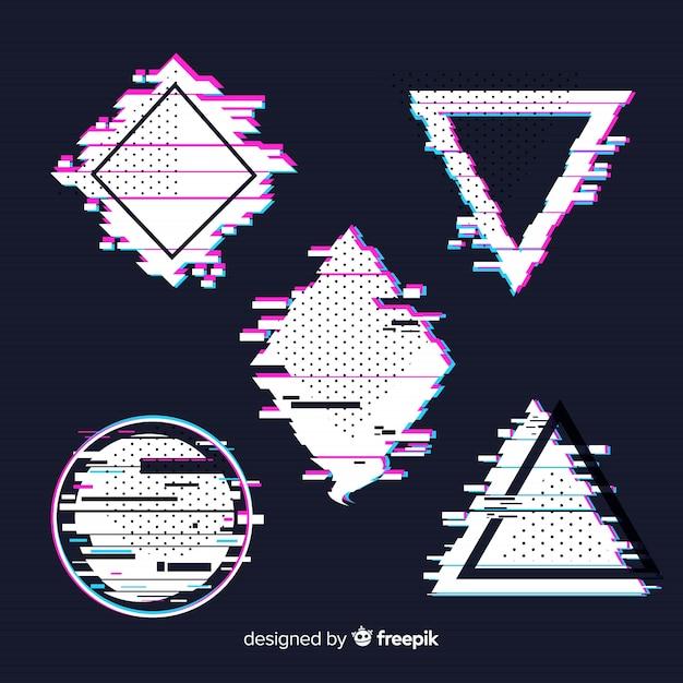Glitch geometrische formsammlung Kostenlosen Vektoren