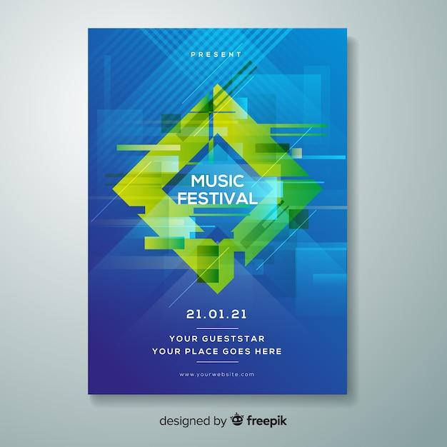 Glitch music festival poster vorlage Kostenlosen Vektoren