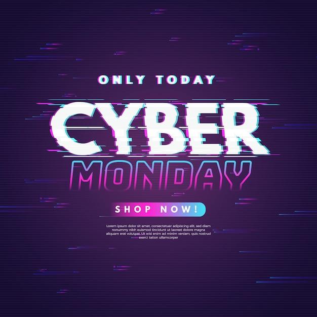 Glitch promo banner cyber montag Kostenlosen Vektoren