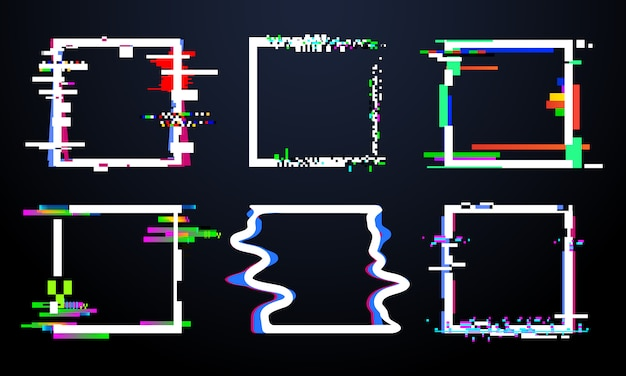 Glitch quadratischen rahmen. trendy glitched squares formen, abstrakte dynamische geometrie rahmen mit störimpulsen. verzerrungsdesign-vektorsatz Premium Vektoren