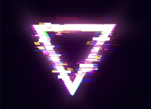 Glitched triangle design. verzerrter glitch style moderner hintergrund. glow design für grafikdesign - banner, poster, flyer, broschüre, karte. illustration. Premium Vektoren