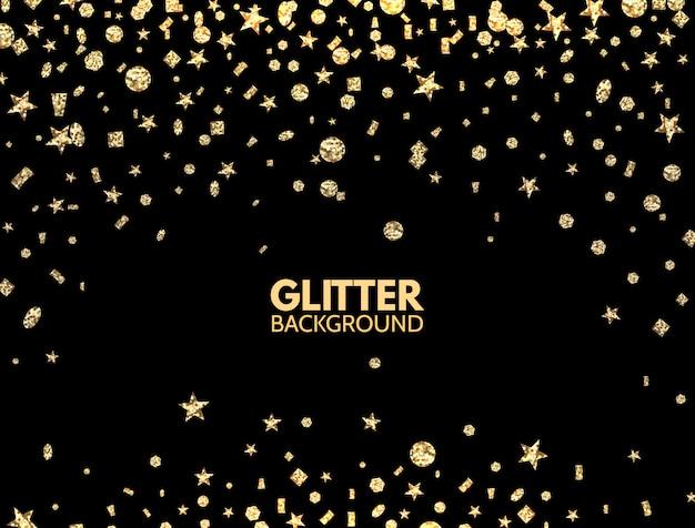 Glitter hintergrund. fallende goldglitter-konfetti Premium Vektoren
