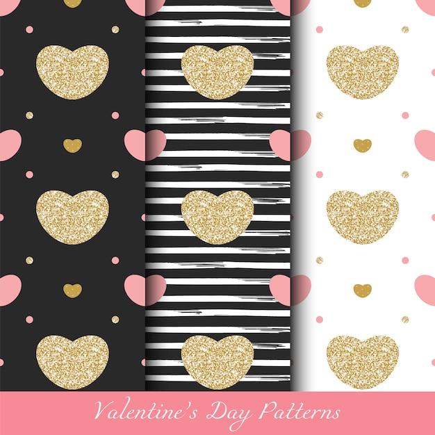 Glittery goldene nahtlose muster des valentinstags Premium Vektoren
