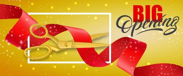 Glitzernde fahne der großen öffnung mit den rahmen- und goldscheren, die rotes band schneiden Kostenlosen Vektoren